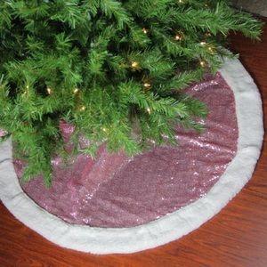 Mini Christmas tree pink sequin skirt white